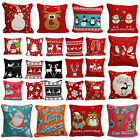 Christmas Festive Design Decorative Cushion Cover 100% Cotton 45x45cm Red Print