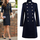 Fashion British Women Outerwear Long Coat Double Breasted Jacket Trench Coat