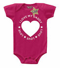 I LOVE MY DADDY (CIRCLE) Baby Vest Cerise/Pink & White 100% Cotton Cheeky Chaps