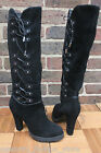 Karen Millen Black Suede Lace Side High Heel Knee Leather Zip Block Boots 5 7 8