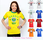 New Womens Ladies Football World Cup 2014 England Brazil T-shirt Top Size 10-16