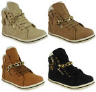 WOMENS LADIES ANKLE FUR LACE UP GOLD CHAIN FLAT HI-TOP SHOES TRAINERS PUMPS SIZE
