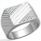 Exceptional Lines Micro-Pavé Setting 925 Sterling Silver Mens Best HQ Ring