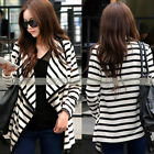 NEW Womens Slim Fit Suit Collar Blazer Casual Cotton Stripe Coat Jacket Cardigan
