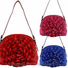 NEW Ladies PU Small Shoulder HANDBAG Pretty Oversized 3D Ruffled Flower Style