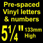 "QTY of: 5 x 5¼"" 133mm HIGH STICK-ON  SELF ADHESIVE VINYL LETTERS & NUMBERS"