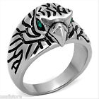Green Crystal Eyes Eagle Silver Stainless Steel Mens Ring
