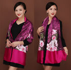 Free Shipping Double-Sides Lady's100% Silk Pashima Painting Fastener Shawl Scarf