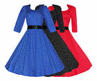 Womens 40s 50s Vintage Retro Sleeved Polka Dot Rockabilly Full Flared Jive Dress