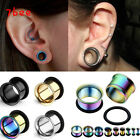 Pair Stainless Steel Single Flared Ear Plug Tunnel W/O-ring Stretcher Gift EE