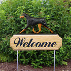 Doberman (Natural) Welcome Sign Stake. Home, Yard & Garden Dog Wood Products