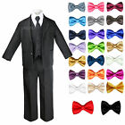 Baby Toddler Boys Black Formal Wedding Suits Tuxedos with Extra Bow Tie sz S-7