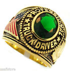 Mens Professional Truck Driver Green  Stone 18kt Gold Plated Ring