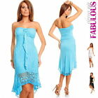 New Womens Sexy High Low Dress Size M Crochet Lace Long Tops XS S 2 4 6 8 10