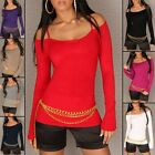 Women's Off the Shoulder Knit Pullover Sweater Top - size S/M (US 2-4-6)