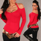 Women's Sexy Off the Shoulder Sweater Pullover Top - S/M (US 2-4-6)