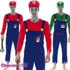 Mens Super Mario Luigi Brother Zombie Bloody Halloween Fancy Dress Costume hat