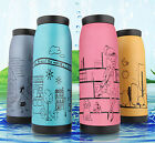 Stainless Steel Thermos Bottle with Lovely Frosted Illustration Vacuum Flask Mug