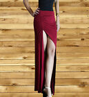 Long Maxi Skirt burgundy Minimalist Thigh High Slit Ruched Fitted Split 2xl