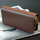 Men's retro genuine leather handbag wallet double zipper CR118 clutch card purse