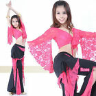 Belly Dance Costume Lace Top and Pants Trousers Practice Sets 9 Colors