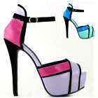 Three Tone Ankle Strap Platform Party Wedding Prom Sandal Size 5/6/7/8/9/9.5/10