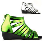 Punk Green/Silver Zip Strappy Cage Gladiator Wedge Sandals Size 4/5/6/7/8/9/10