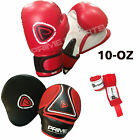BOXING GLOVES SPARRING FIGHT TRAINING PUNCH BAG FOCUS PADS HAND WRAPS SET 5