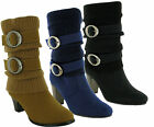 WOMEN LADIES ANKLE FULL ZIP BLOCK HIGH HEEL CASUAL WINTER SHOES BOOTS UK SIZES