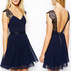 Applied 1PC Bridesmaid Wedding Evening Party Prom Formal Halter Chiffon Dress