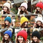 FD1129 Winter Warm Fur Knitted Beret Ski Pom Bobble Slouch Baggy Crochet Cap Hat