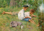 Fishing along the River...  by Francis Coates Jones   Giclee Canvas Print Repro