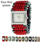 Ladies Safety Pin Watch with Beautiful Beads Fashion Elastic Band USA Seller