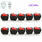 4 Pin On / Off  Rectangle Rocker Switch Car Boat Red Light AC 16A/250V 20A/125V