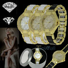 Luxury Women's Lady Round Bracelet Watches Bling Crystal Plated WristWatch Gift