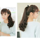 """16"""" Women Lady Long Curly Ribbon Ponytail Hairpiece Hair Extensions Wigs BLS NEW"""