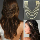 Womens Punk 2 Combs Chains Tassels Fringes Hair Cuff Pin Head Band 2 Colors LX