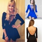 Celeb Women's Mesh Deep V-neck Bodycon Party Cocktail Skater Backless Dress - CB