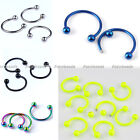 10pcs Stainless Steel 18G Ball Hoop Nose Lip Stud Ring Body Piercing Punk Cool