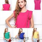 Fashion Women's Chiffon Casual Shirt Loose Blouse Tops Rose/Yellow/Green