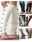 Women Girl`s Crochet Knit With Button Leg Warmers Lace Trim Cuffs Boot Socks
