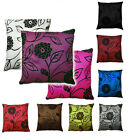 "18"" (45 cm) faux silk Charlotte cushion cover: floral flocking pattern."