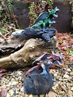 Fair Trade Hand Carved Made Thai Dragon With Wings on Reclaimed Teak Wood Statue
