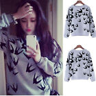 New Fashion Europe Womens Flying Swallow Print Blouse Hoodie Sweat Sweatshirt