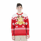 Adult Holiday Cheer Red 3D Reindeer Detachable Plush Ugly Christmas Sweater