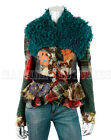 GORGEOUS SAVE THE QUEEN JACKET MULTI PRINT FAUX MONGOLIAN FUR REMOVABLE COLLAR