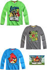 BRAND NEW BOYS ANGRY BIRDS LONG SLEEVE TOP WITH PRINT BLUE GREEN GREY  4-12 YEAR