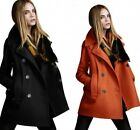 Womens Warm Fashion Wool Cashmere Double Breasted Long Parka Coat Trench Outwear