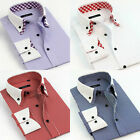 Double collar stripes white collar men's long-sleeved clasisc dress shirts