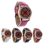 UK Flag Round Dial Crystal Girl Leather Quartz Wrist Watch Women Gift T27S